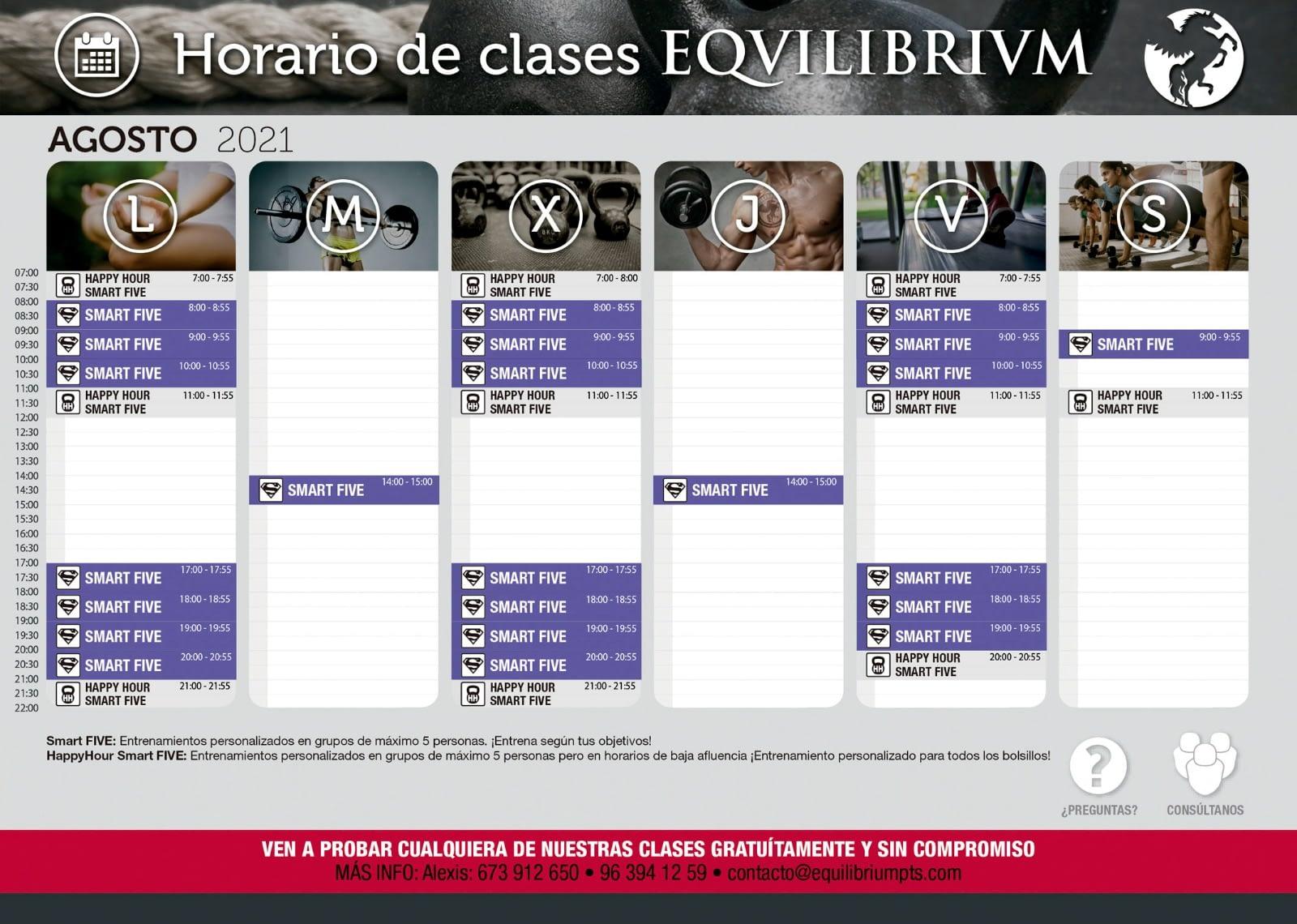 Horario de clases Equilibrium Agosto